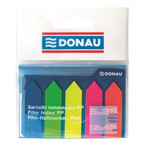 Jelölőcímke, műanyag, nyíl forma, 5x25 lap, 12x45 mm, DONAU, neon szín