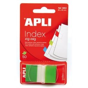 Jelölőcímke, műanyag, 50 lap, 25x45 mm, APLI, zöld