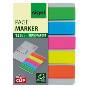 """Jelölőcímke, műanyag, 5x25 lap, 12x50 mm, klippel, SIGEL """"Clip"""", vegyes szín"""