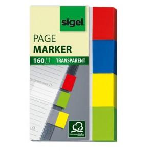 "Jelölőcímke, műanyag, 4x40 lap, 20x50 mm, SIGEL ""Clear"", vegyes szín"