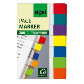 "Jelölőcímke, műanyag, 7x40 lap, 20x50 mm, SIGEL ""Clear Mini"", vegyes szín"