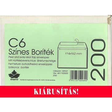 Boríték, LC6, szilikonos, EURO, halvány zöld -Kifutó termék!-