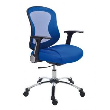 """Irodai szék, karfával, kék szövetborítás, feszített hálós háttámla, króm lábkereszt, MAYAH """"Spirit"""""""