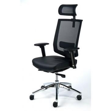 """Exkluzív fejtámaszos irodai szék, fekete bőrborítás, feszített hálós háttámla, fekete lábkereszt, MAYAH """"Maxy"""""""