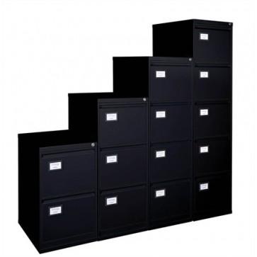 Függőmappatároló fémszekrény, 4 fiókos, VICTORIA, fekete