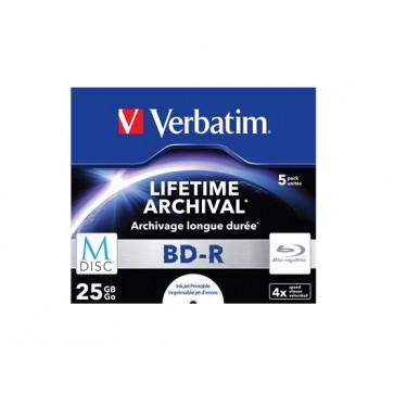 BD-R BluRay lemez, archiváló, nyomtatható, M-DISC, 25GB, 4x, 1 db, normál tok, VERBATIM