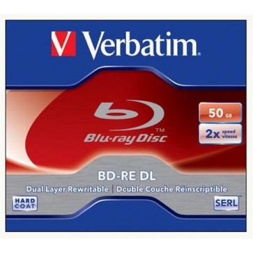 BD-RE BluRay lemez, kétrétegű, újraírható, 50GB, 2x, 1db, normál tok, VERBATIM