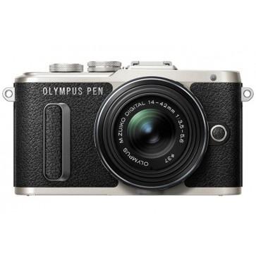"""Fényképezőgép, fekete váz, EZ-M1442EZ fekete objektív, OLYMPUS """"E-PL8 Pancake Zoom Kit"""""""