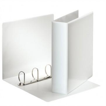 Gyűrűs könyv, panorámás, 4 gyűrű, D alakú, 75 mm, A4, PP, ESSELTE, fehér