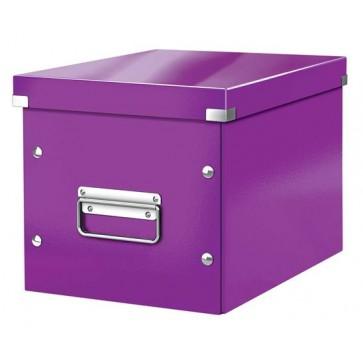 """Tároló doboz, lakkfényű, M méret, LEITZ """"Click&Store"""", lila"""
