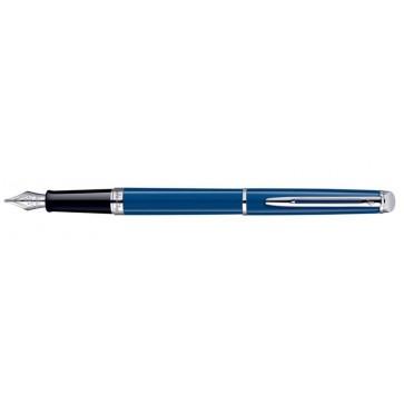 """Töltőtoll, 0,7 mm, F, ezüst színű klip, kék tolltest, WATERMAN """"Hémisphere"""", kék"""