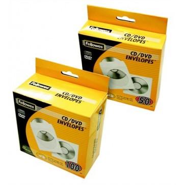 CD/DVD boríték, papír, ablakos, FELLOWES, fehér