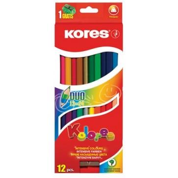 """Színes ceruza készlet, kétvégű, háromszögletű, KORES """"Duo"""", 24 különböző szín"""