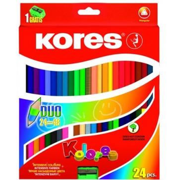 """Színes ceruza készlet, kétvégű, háromszögletű, KORES """"Duo"""", 48 különböző szín"""