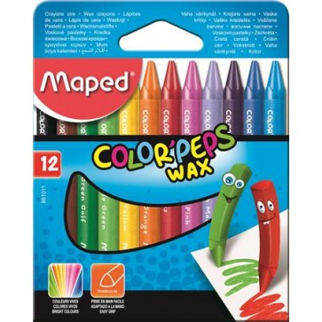 """Zsírkréta, MAPED """"Color`Peps Wax"""", 12 különböző szín"""