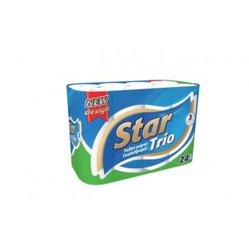 """Toalettpapír, 3 rétegű, 24 tekercses, """"Star Trio"""""""