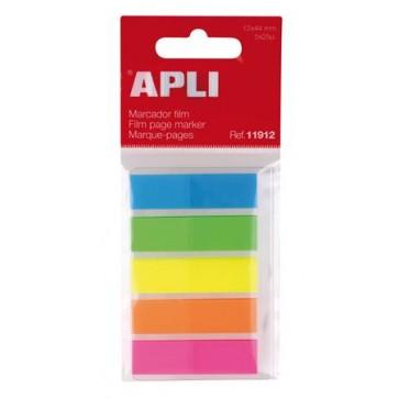 Jelölőcímke, műanyag, 5x25 lap, 12x45 mm, APLI, 5 szín
