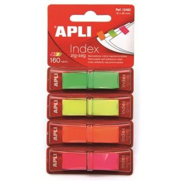 Jelölőcímke, műanyag, 4x40 lap, 12x45 mm, APLI, 4 fluoreszkáló szín