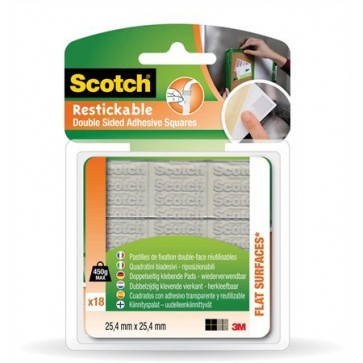 Ragasztó négyzetek, kétoldalú, szilikon, újrafelhasználható, 25,4x25,4 mm, 3M SCOTCH