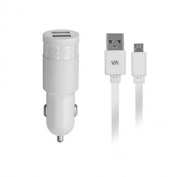 """Autós töltő, 2 x USB, 3,4A, micro USB kábellel, RIVACASE """"VA 4223 WD1"""", fehér"""