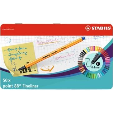 """Tűfilc készlet, 0,4 mm, fém doboz, STABILO """"Point 88"""", 47+3 különböző szín"""