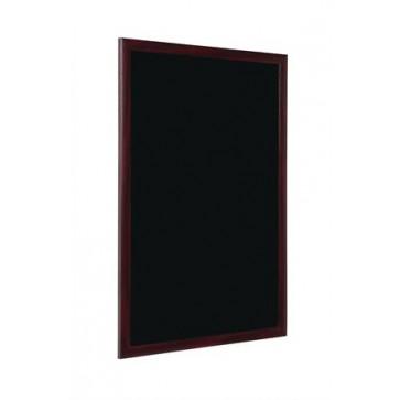 Krétás információs tábla, fekete felület, 45x60 cm,  cseresznyefa színű keret