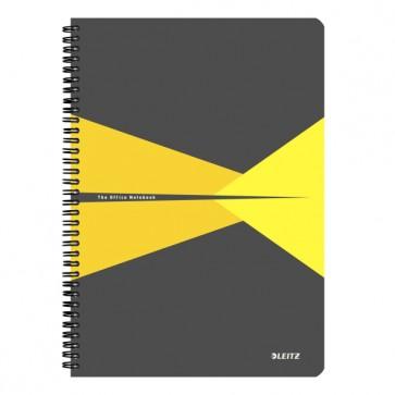 """Spirálfüzet, A4, kockás, 90 lap, PP borító, LEITZ """"Office"""", szürke-sárga"""