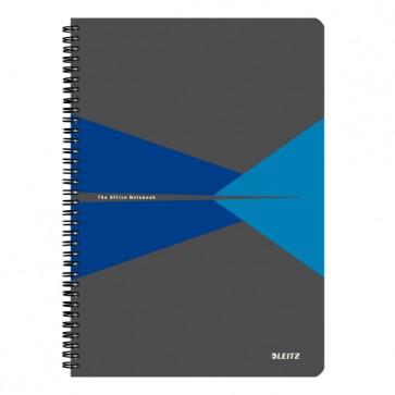 """Spirálfüzet, A4, vonalas, 90 lap, PP borító, LEITZ """"Office"""", szürke-kék"""