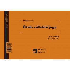 """Nyomtatvány, ötvös vállalási jegy, 50x2 lap, 203x140 mm, fekvő, PÁTRIA """"A.T.1510/V"""""""