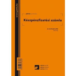 """Nyomtatvány, készpénzfizetési számla, 2 ÁFÁs, 50x3 lap, A5, álló, PÁTRIA """"B.13-373/D/V/PM"""""""