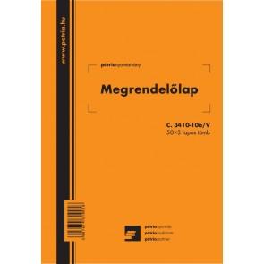 """Nyomtatvány, megrendelőlap, 50x3 lap, 140x203 mm, álló, PÁTRIA """"C.3410-106/V"""""""