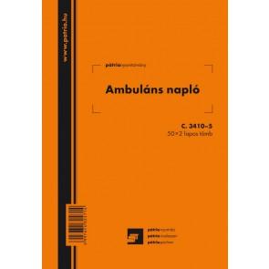 """Nyomtatvány, ambuláns napló, 50x2 lap, A5, álló, PÁTRIA """"C.3410-5"""""""