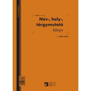 """Név, hely, tárgymutató 100 lapos könyv A/4 álló """"C.5230-167/A"""""""