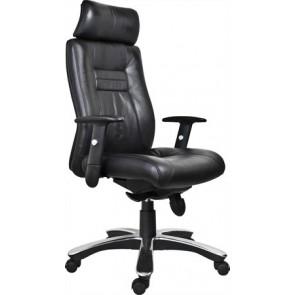 """Főnöki szék, bőrborítás, fekete lábkereszt, """"Vitelius"""", fekete"""