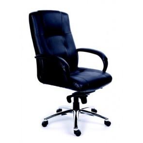 """Főnöki szék, hintamechanikával, fekete bőrborítás, króm lábkereszt, MAYAH """"Enterprise"""""""