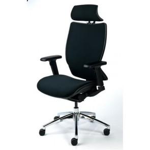 """Főnöki szék, fejtámasszal, fekete szövetborítás, feszített szövet háttámla, alumínium lábkereszt, MAYAH """"Crown"""""""