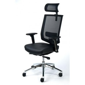 """Exkluzív fejtámaszos irodai szék, fekete bőrborítás, feszített hálós háttámla, alumínium lábkereszt, MAYAH """"Maxy"""""""