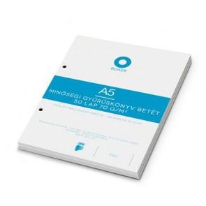 Gyűrűs könyv betét, A5, sima, 50 lap, BOXER, fehér