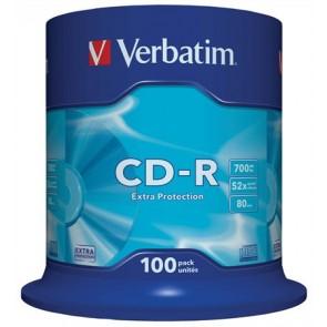 """CD-R lemez, 700MB, 52x, 100 db, hengeren, VERBATIM """"DataLife"""""""