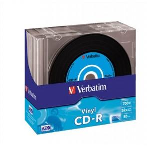 """CD-R lemez, bakelit lemez-szerű felület, AZO, 700MB, 52x, 10 db, vékony tok, VERBATIM """"Vinyl"""""""