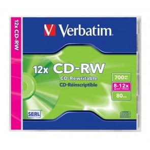 CD-RW lemez, újraírható, SERL, 700MB, 8-12x, 1 db, normál tok, VERBATIM
