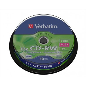 CD-RW lemez, újraírható, SERL, 700MB, 8-10x, 10 db, hengeren VERBATIM
