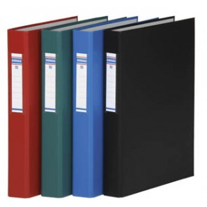 Gyűrűs könyv, 4 gyűrű, 40 mm, A4, PP/karton, DONAU, piros