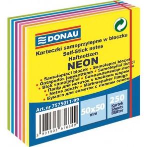 Öntapadó jegyzettömb, 50x50mm,250 lap, DONAU,  neon és pasztell színek