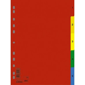 Regiszter, műanyag, A4, 1-5, DONAU, színes