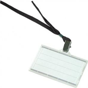 Azonosítókártya tartó, fekete nyakba akasztóval, 85x50 mm, műanyag, DONAU
