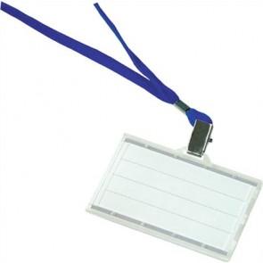 Azonosítókártya tartó, kék nyakba akasztóval, 85x50 mm, műanyag, DONAU