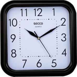 """Falióra, négyzet alakú, 25,5x25,5cm,  fekete keretes, SECCO """"Sweep second"""""""