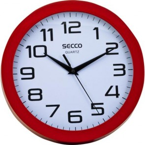 """Falióra, 25 cm, piros keretes, SECCO """"Sweep second"""""""