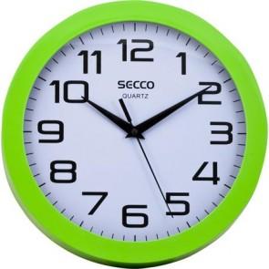 "Falióra, 25 cm, zöld keretes, SECCO ""Sweep second"""